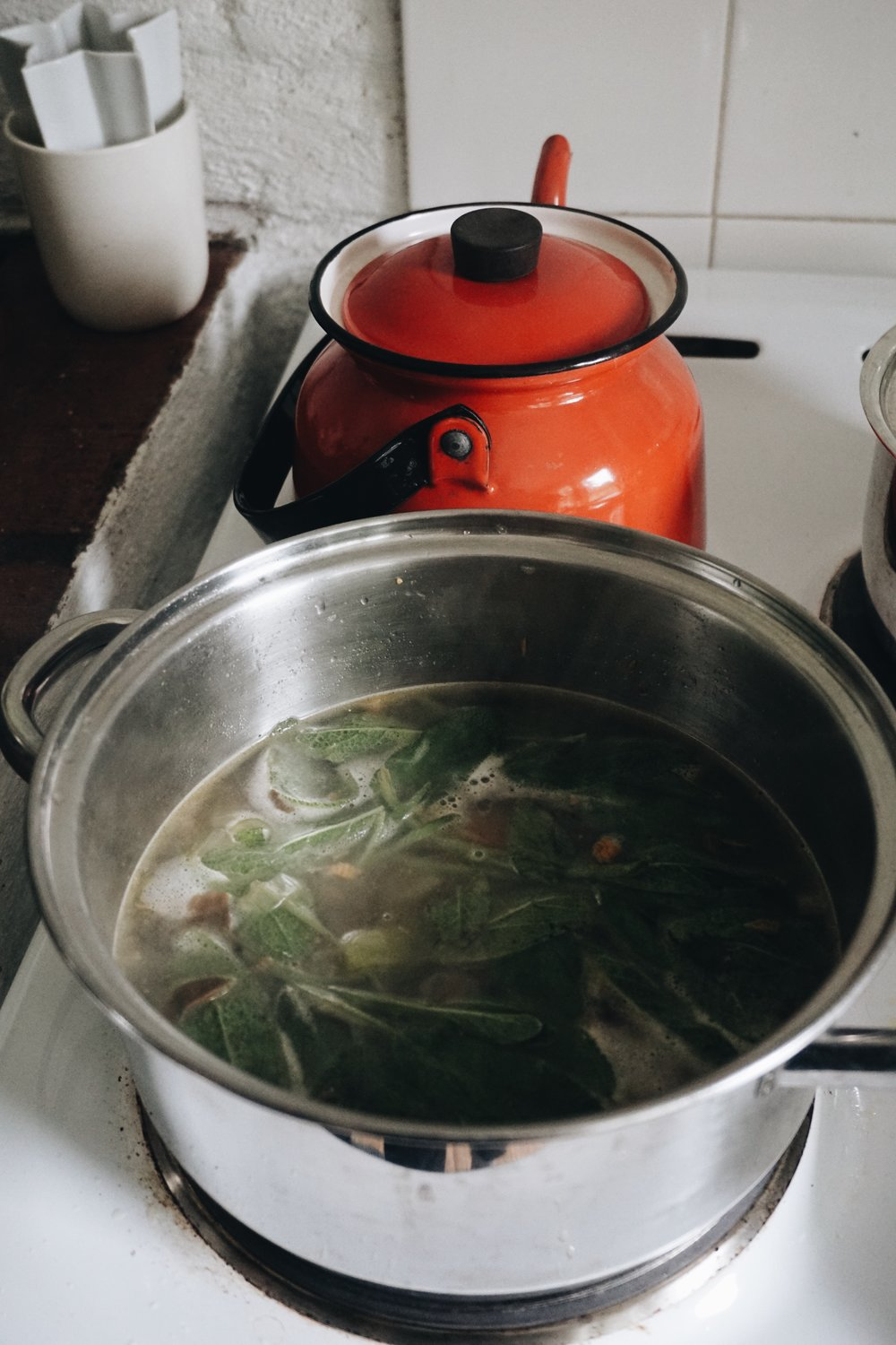 Cooking the broth, a few hours before making the risotto.