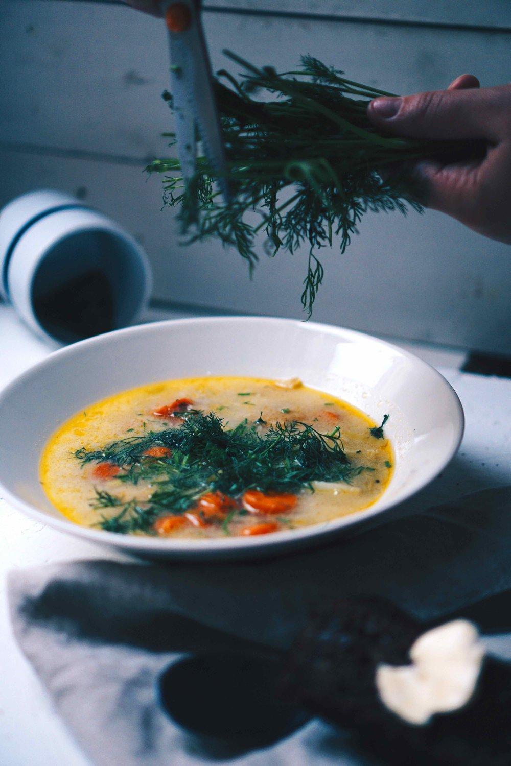 I ended up scissoring way too much dill on top of the soup during our photo-shoot.