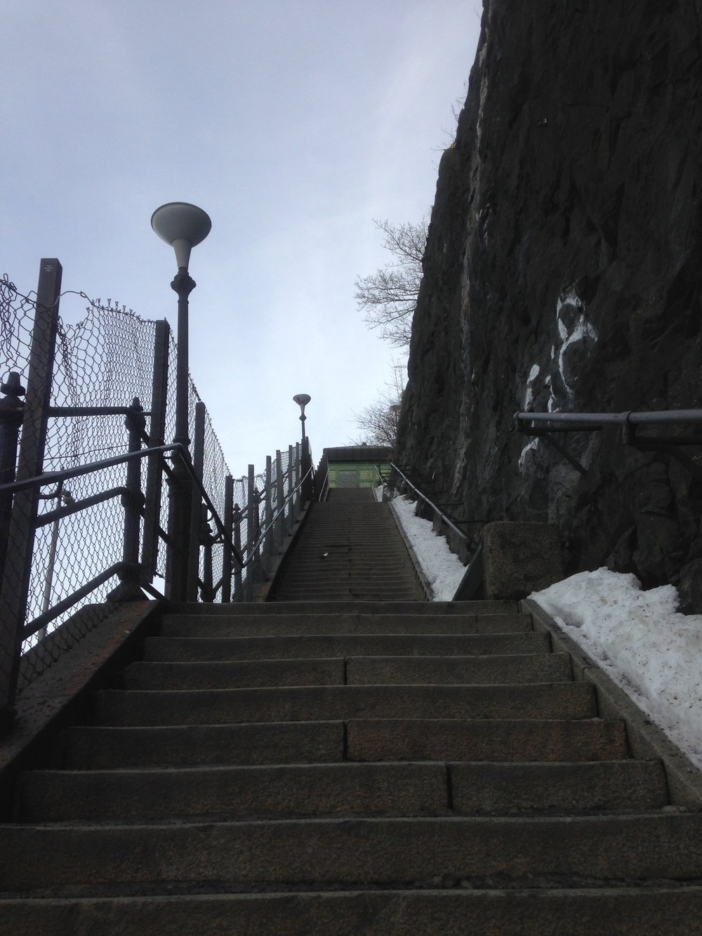 The dreaded stairs leading up from Fotografiska to Katarinavägen.