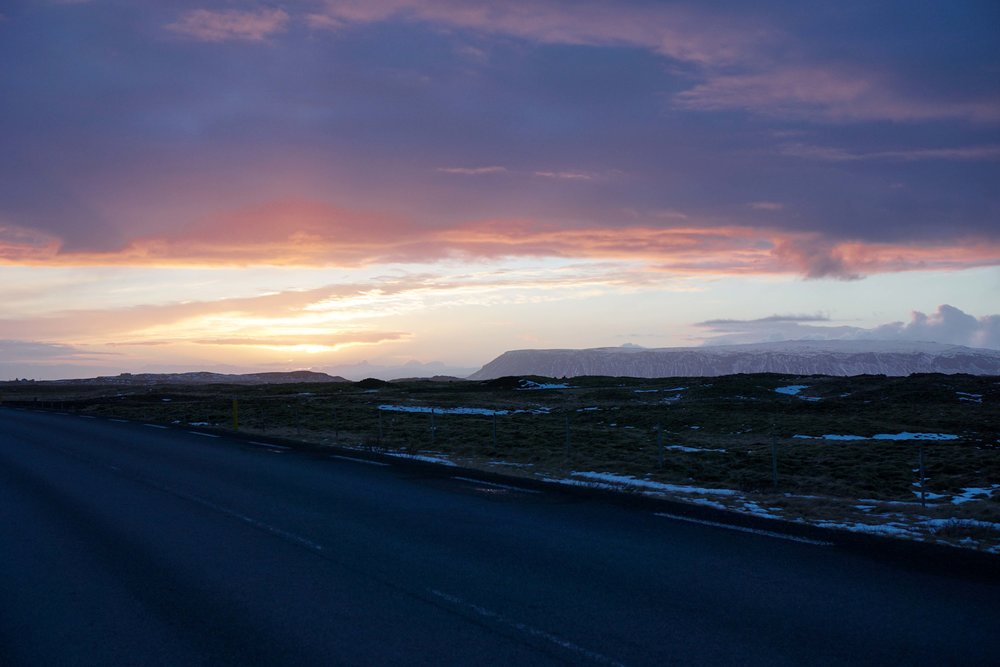 Driving back to our hotel we got to witness the most beautiful sunset. Iceland, we get it. You're gorgeous.
