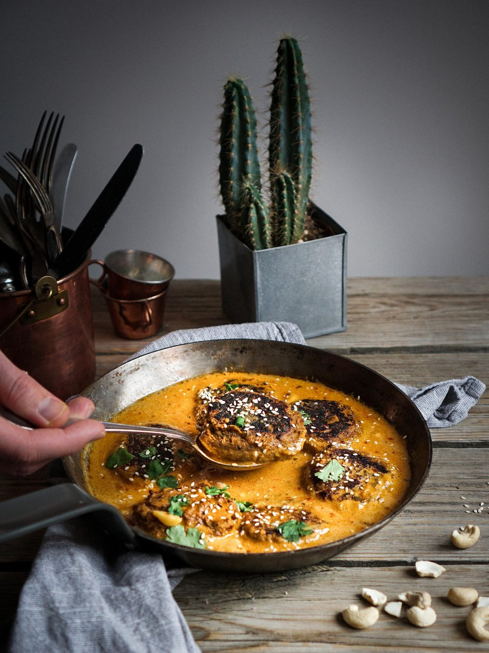 Indian sweet potato and lentil patties in a creamy cumin and coconut sauce - 45 min • 18-20 patties • Gluten-free