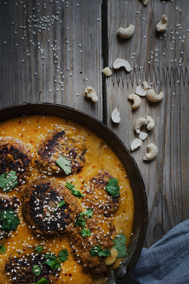 May 17th  - Indian sweet potato and lentil patties in a creamy cumin and coconut sauce