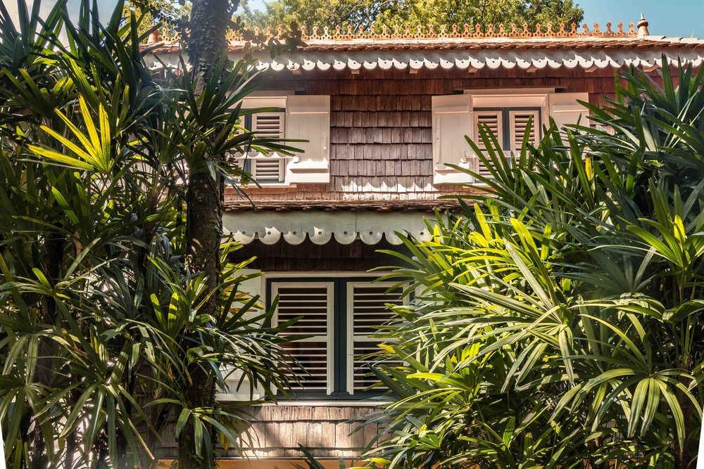 """The main house exterior is tiled with wooden shingles known as """"essentes"""""""