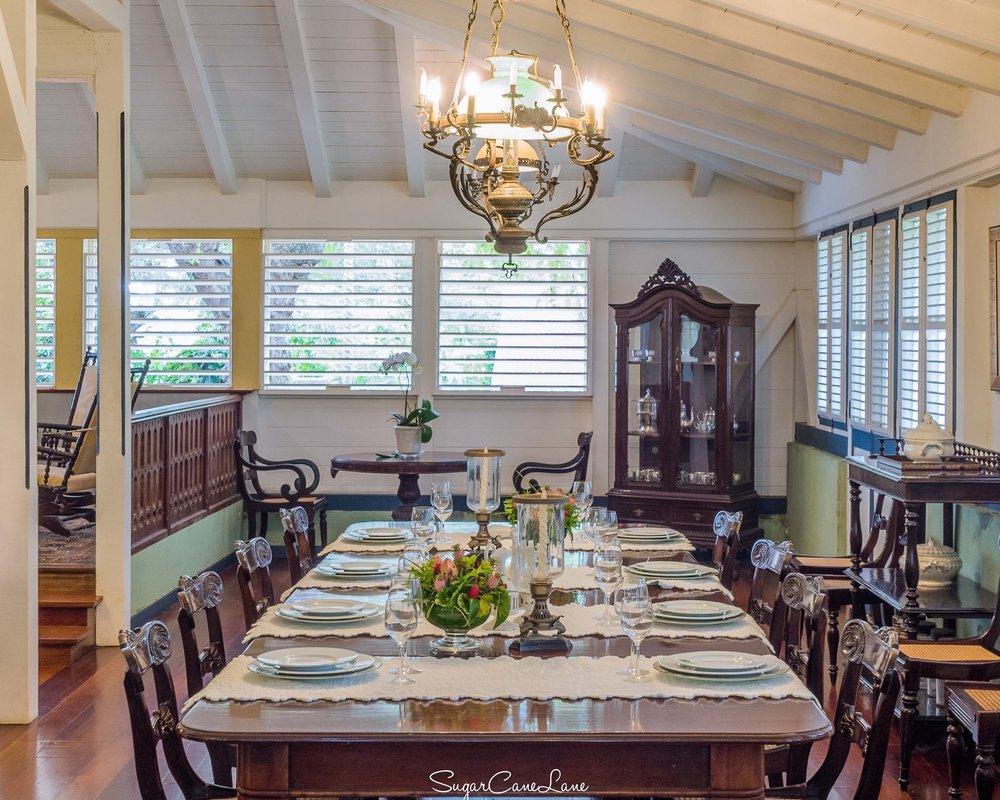 Martinique, Habitation Clément : la salle à manger