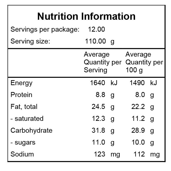HGC Nutrition Information Vegan PB Cacao Bread
