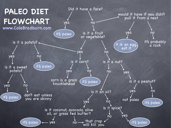 A tongue in cheek Paleo Diet Flowchart via Pinterest
