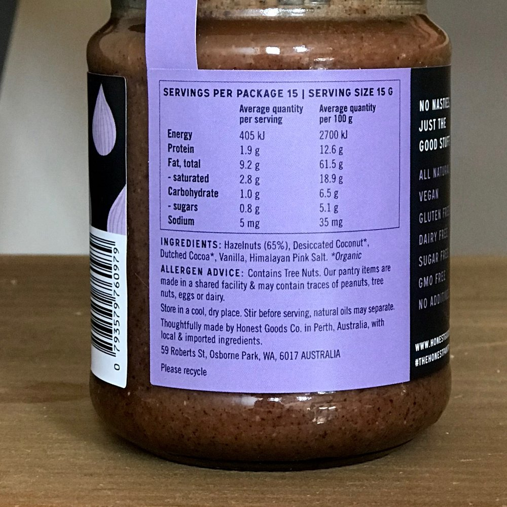 The Honest Pantry Choc Hazelnut Butter.  Note that hazelnuts come in at #1 (65%) while sugar doesn't even make it onto the list.