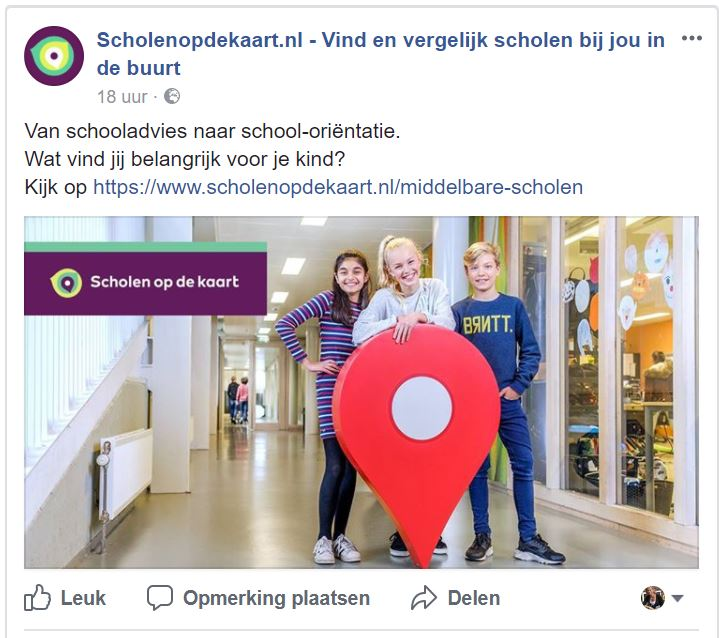 Facebook campagne Scholen op de kaart 2017-2018