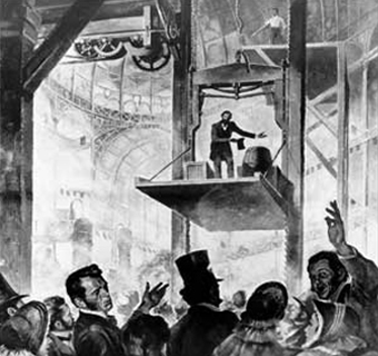 Elisha Otis on his Safety Elevator