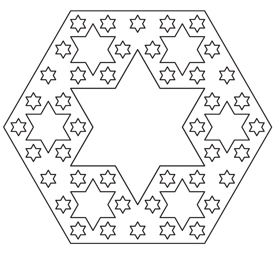 The cross section of a cube which has gone 3 iterations.