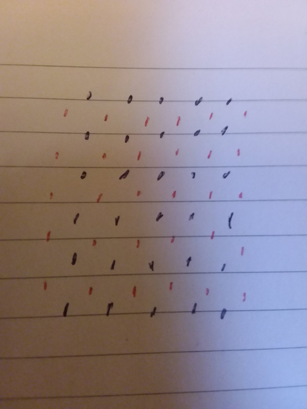 Filled dots and empty circles are an easy substitute when you only have one colour of pen