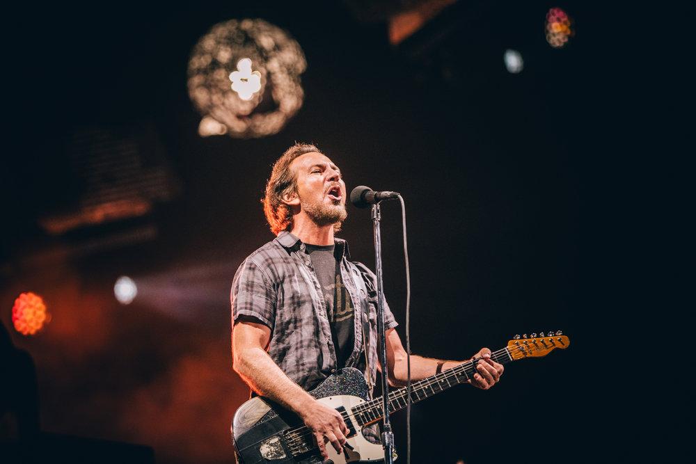 Pearl Jam's Eddie Vedder during the band's headline set on Saturday 14 July. Credit: Arlindo Camacho