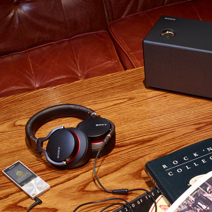 Sony's Hi-Res Audio range, with NWZ-A15 Walkman, MDR-1A headphones and SRS-X9 speakers.