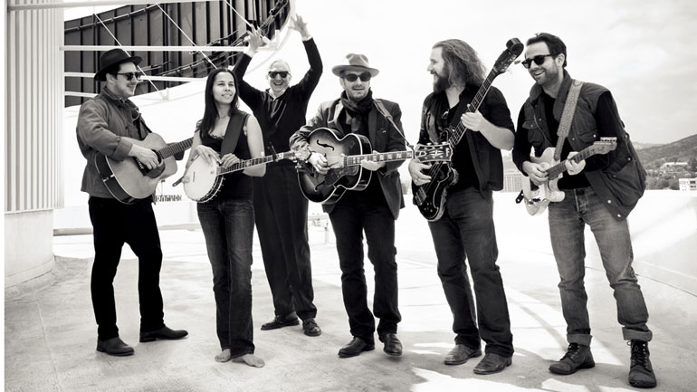 The New Basement Tapes band: (from left) Marcus Mumford, Rhiannon Giddens, T Bone Burnett, Elvis Costello, Jim James, Taylor Goldsmith.