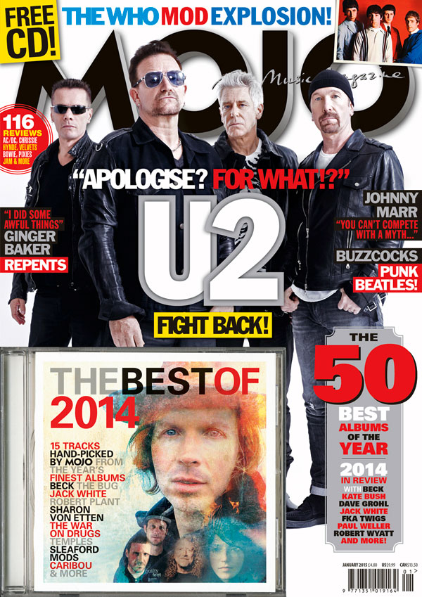MOJO 254, featuring U2 exclusive and Best Of 2014 CD, on sale in the UK from Wednesday, November 26.