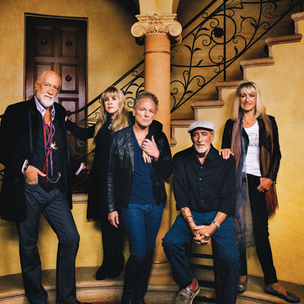 Chained together, the five members of Fleetwood Mac now.