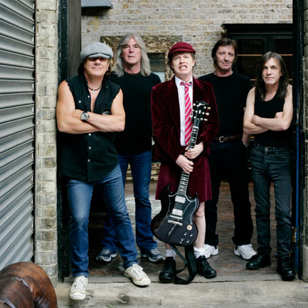 AC/DC, prior to Malcolm's illness: (from left) Brian Johnson, Cliff Williams, Angus Young, Phil Rudd, Malcolm Young.