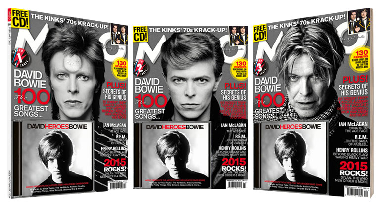 The MOJO Bowie issue (255), with a choice of three collectable covers, available from Tuesday, December 30, 2014.
