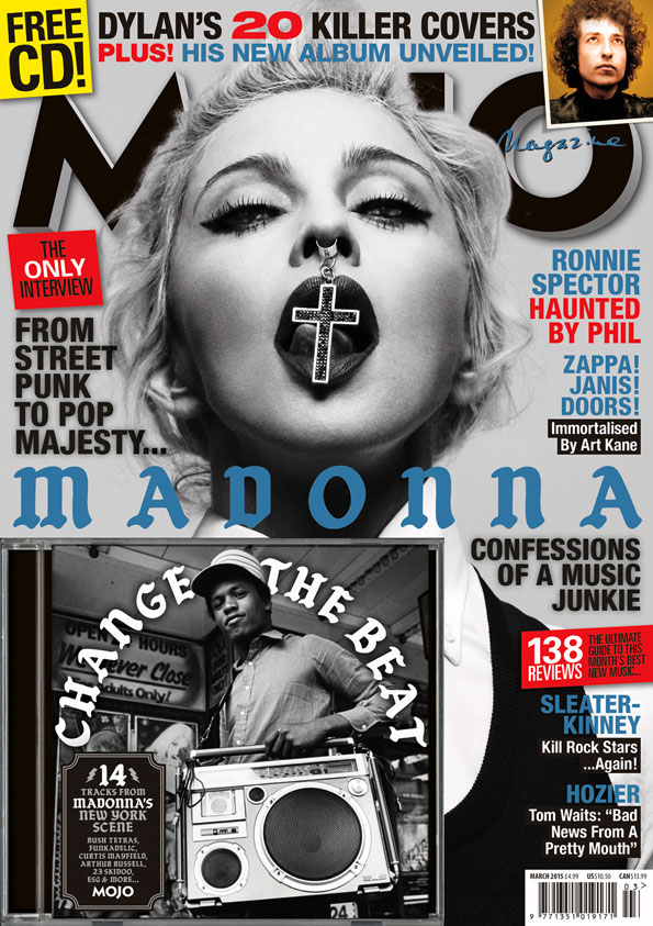MOJO Madonna: the newsstand cover, featuring Change The Beat CD and some pop singer. On sale from Tuesday, January 27.