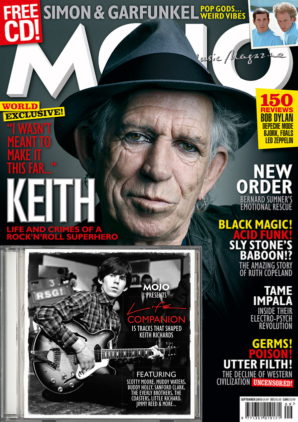 Happy? Keith Richards on the cover of MOJO 262, on sale in the UK from Tuesday, July 28, 2015.
