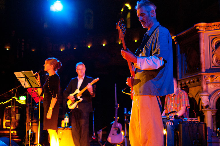 Young Marble Giants at London's Union Chapel, September 2013. From left: Alison Statton, Stuart Moxham, Phil Moxham.