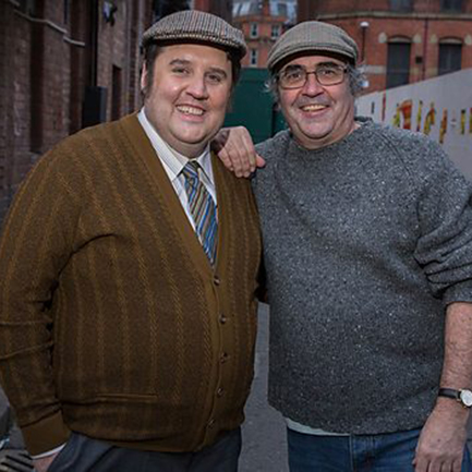 Cool for caps: Peter Kay & Danny Baker.