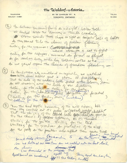 Freewheelin' handwriting: Bob Dylan's hotel-penned lyrics for Chimes Of Freedom.