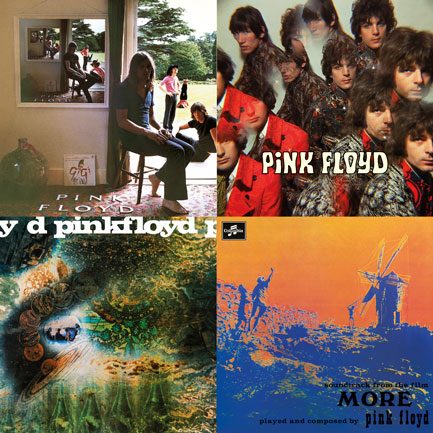 Artwork for the first four Pink Floyd reissues.
