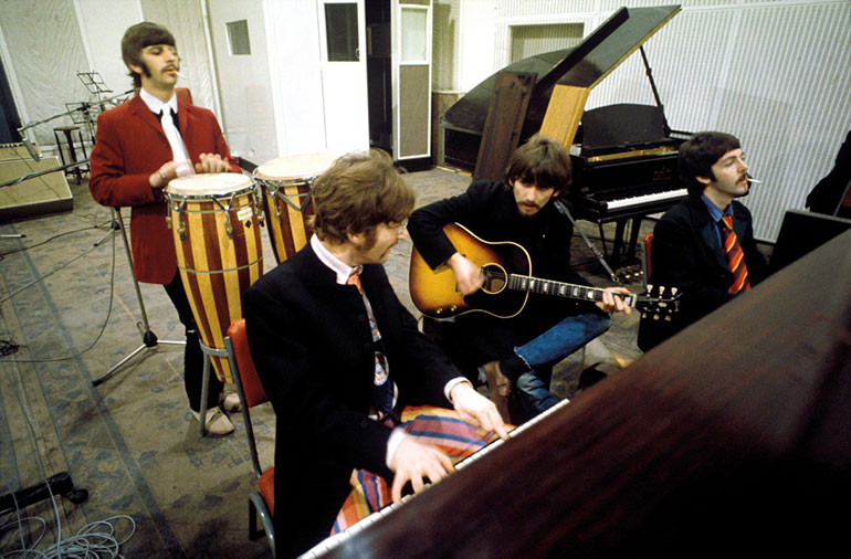"The Beatles in Abbey Road Studio 2 in 1967. ""Stereo? It'll never catch on."""
