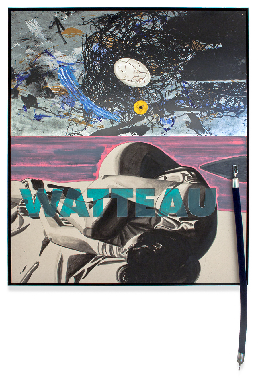 David Salle, Watteau, 2013, acrílica e serigrafia em metal com cerâmica vidrada e pintada, óleo sobre tela com corda de veludo | acrylic and silkscreen on metal, ceramics, oil on canvas and velvet rope, 188 x 163 cm