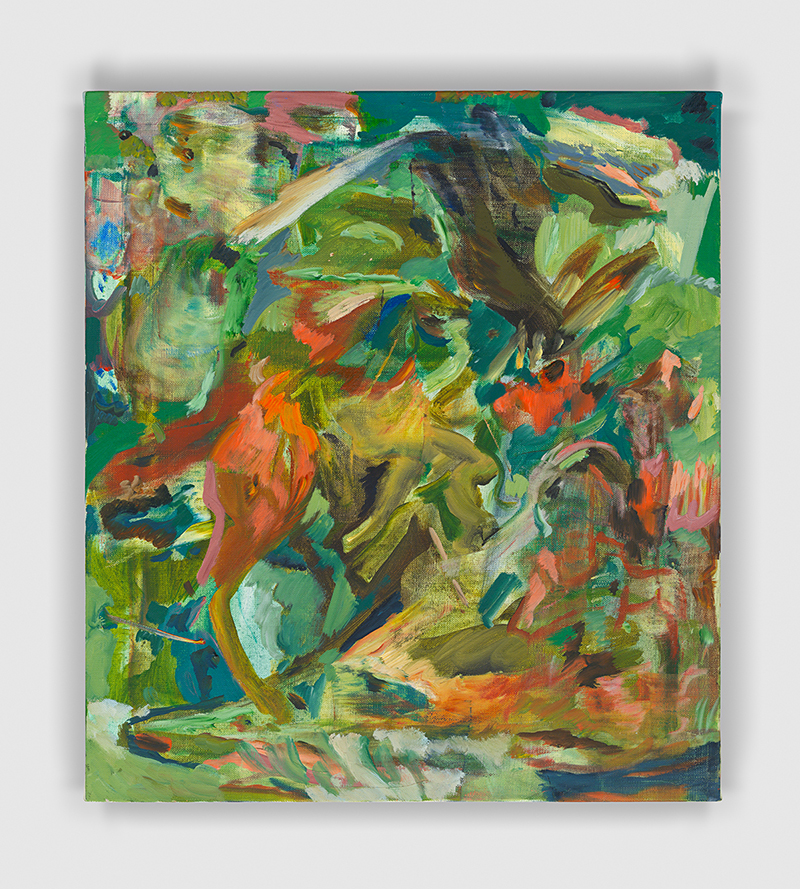 "Cecily Brown,  Silken Speech And Specious Shoe  [Discurso Sedoso e Sapato Capcioso] ,  2017, óleo sobre linho | oil on linen, 48.2 x 43 cm  |  19 x 17""  –   Foto 