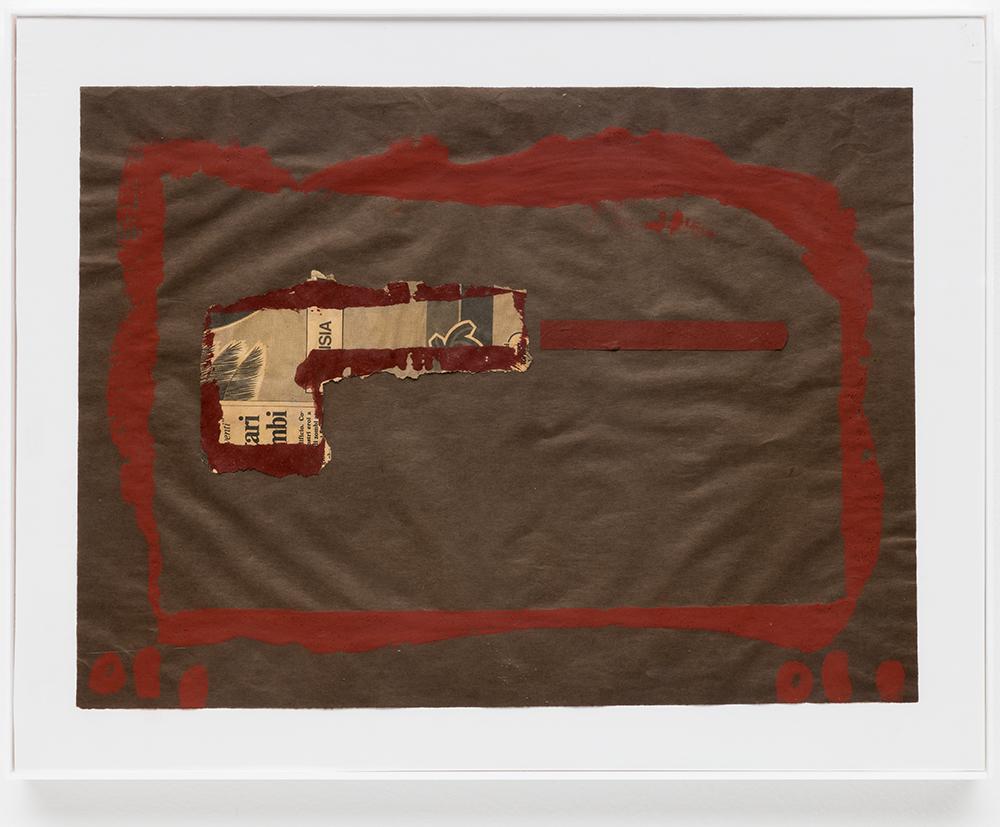 "Pistola  |  Pistol,  1986, técnica mista sobre papel | m ixed media on paper,  28,5 x 38,5 cm |  11 1/4 x 15 3/16"""