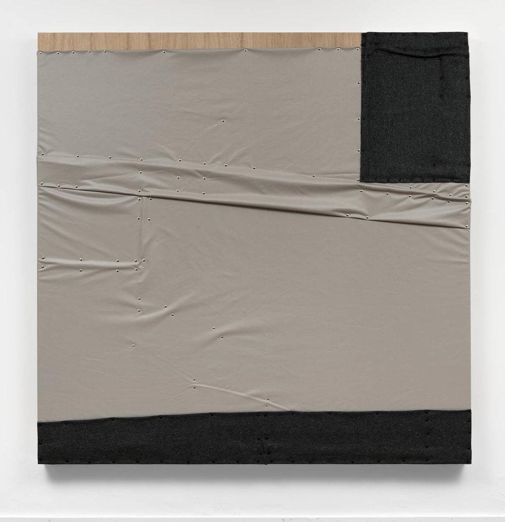 """As águas de Março, 2019 (the plan of the house)   cobertor, tecido """"blackout"""" e pinos de aço sobre madeira   plywood, wall blanket,  blackout material, steel pushpins   183 x 183 x 8 cm    72 x 72 x 3 in"""