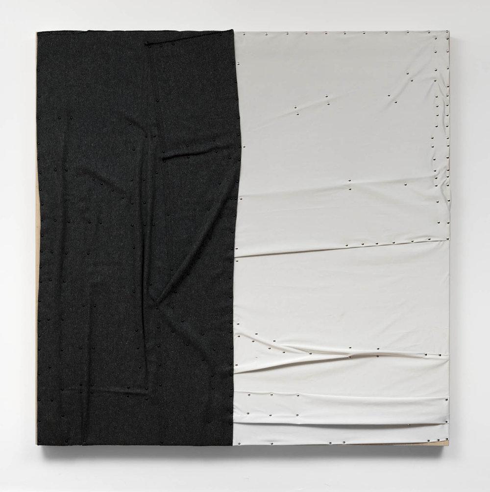 "As águas de Março,  2019 (the body in bed)  cobertor, tecido ""blackout"" e pinos de aço sobre madeira    plywood, wall blanket, blackout material, steel pushpins   183 x 183 x 8 cm    72 x 72 x 3 in"