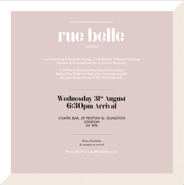 Rue Belle Launch invite
