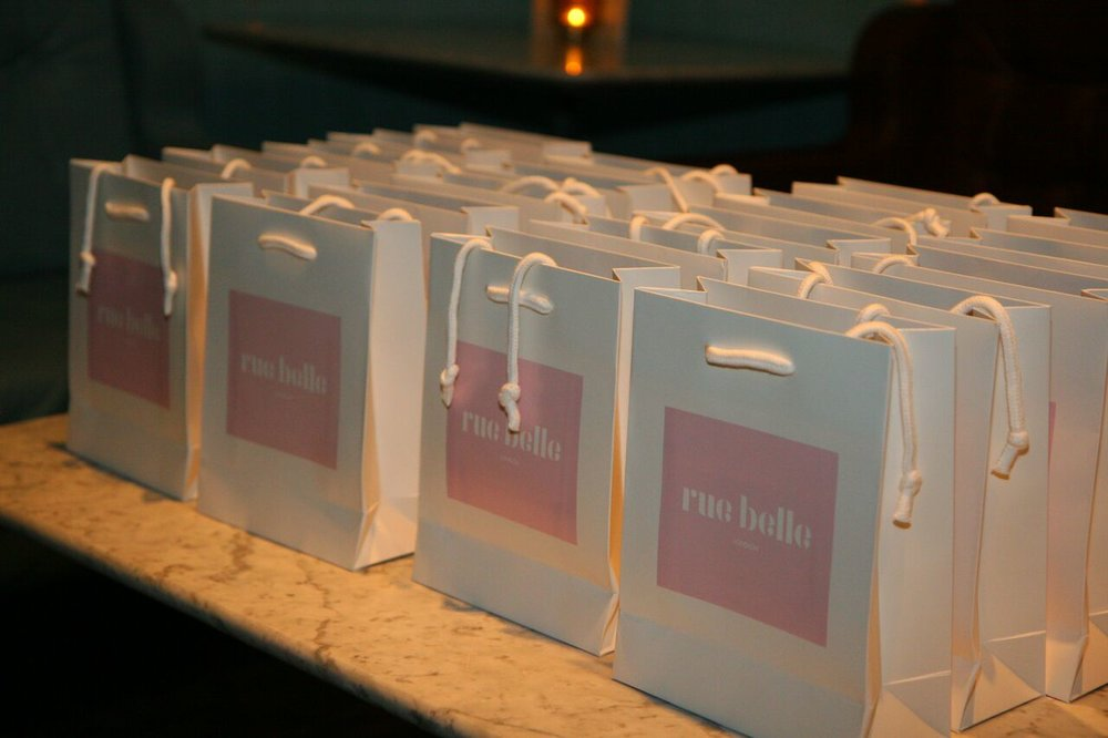 Rue Belle launch gift bags