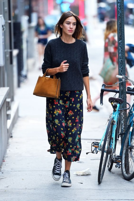Alexa Chung florals with knitwear