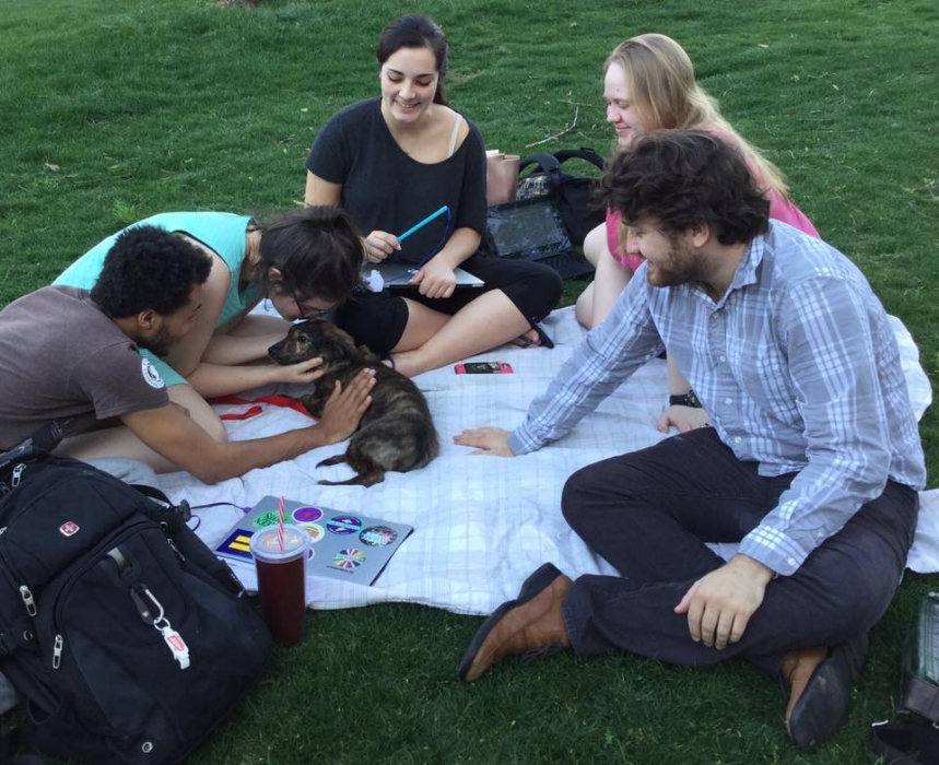 My Forgiveness, Love, and Justice class (and my puppy) hold class outside.