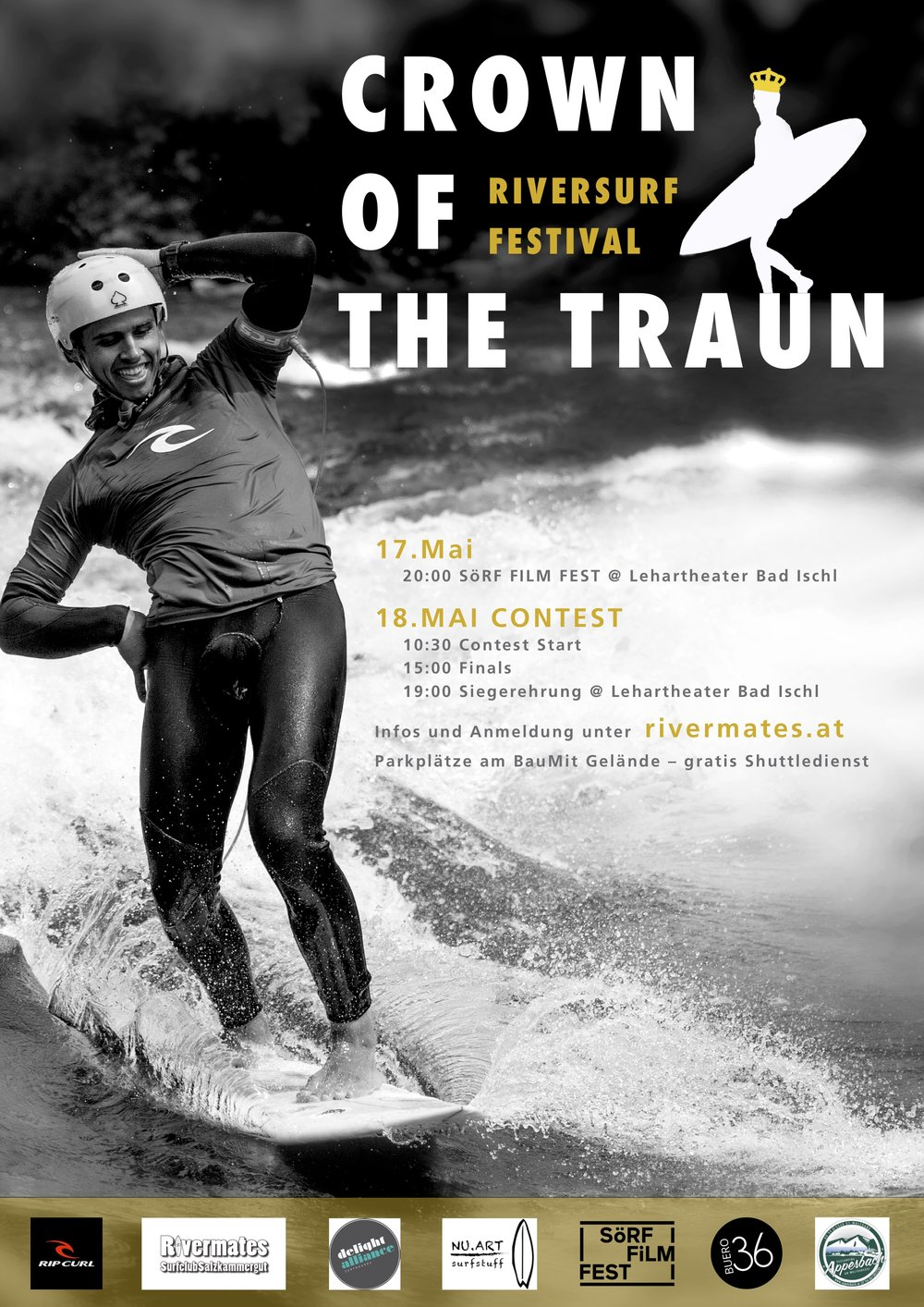 Crown of the Traun - May 18th 2019, Bad Ischl, AustriaRapid Surfing Roots Event; no tour pointsTogether with the Almkanal, the birthplace of Austrian rapid surfing, this event is a must on the calendar.