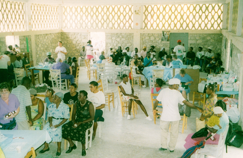Inside the parish hall of St. Dominic's Church during one of the earlier medical missions.