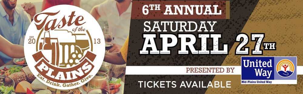 Do you love to try new food, wine, beer and whiskey? Love live music? Is supporting local non-profits your passion? If you said yes, then you won't want to miss Mid-Plains United Way's  6th Annual Taste of the Plains  at  North Platte, Nebraska  on  April 27, 2019 ! Come out to the newly updated  Ramada Inn  to sample foods and drinks from across the state and vote for your favorites! Winners will be given a plaque, and we will announce next year's partner non-profit agencies. You'll be able to jam out to music from  Big Daddy B & The Wrecking Machine  while you shop local vendor booths, bid on silent auction items, and play games like corn hole, jumbo jenga, ring toss and water pong. Want to keep the party going when the band quits? So do we! — That's why we will have  karaoke after 7 p.m.  All proceeds from the night go to benefit our partner agencies.
