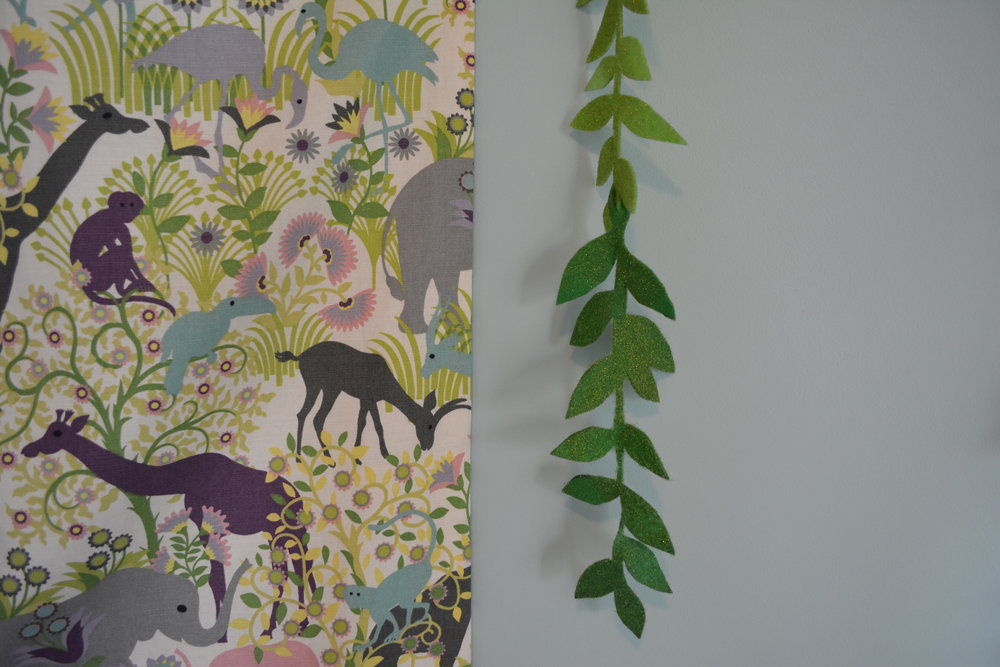 Duralee fabric inspiration with a section of the completed leaf garland