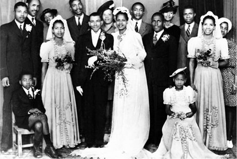 Famous image of Walter and Albertina Sisulu's wedding with Nelson Mandela on the far left.  Image subject to copyright