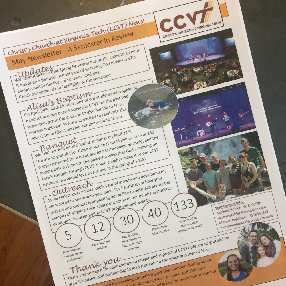Receive our Newsletter - Every couple of months, we send out a newsletter updating our friends and partners about what's happening at Tech and CCVT! Email us your information to receive our newsletter by mail or email.lovevatech@gmail.com
