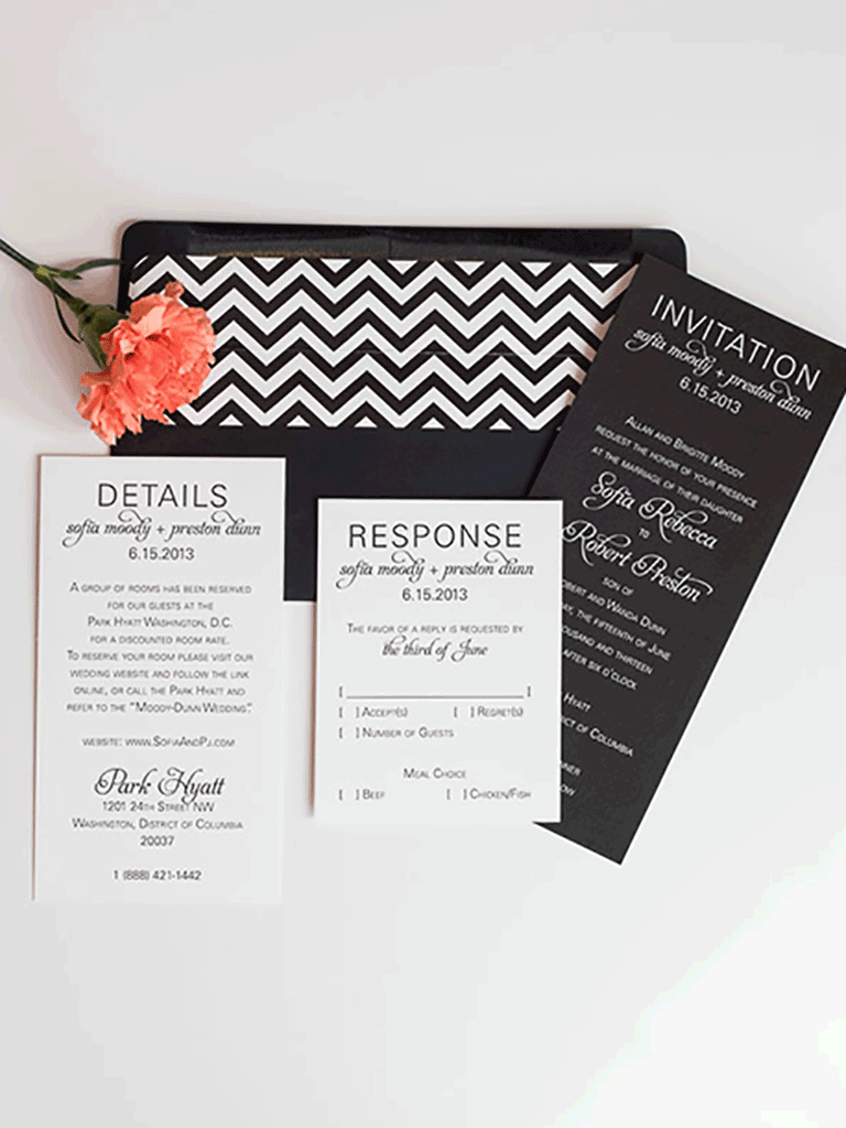 Black Wedding Inviation for Sofia + Preston