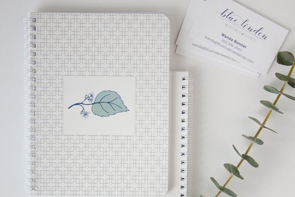 Notebook + Logo Design for Blue Linden Weddings
