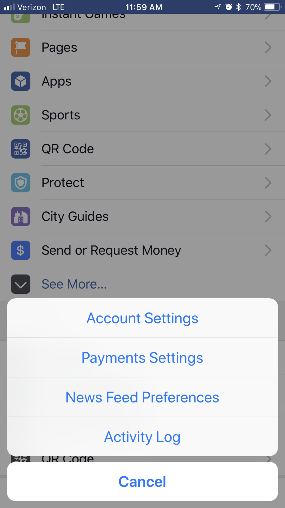 2. Click Account  Settings -