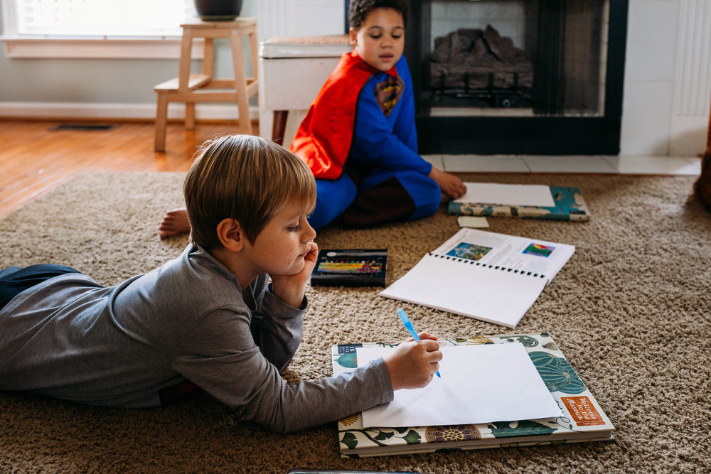"""1:10 After lunch we do the more """"fun"""" studies. Today we did an art lesson that started inside and ended up outside because the weather was beautiful!"""