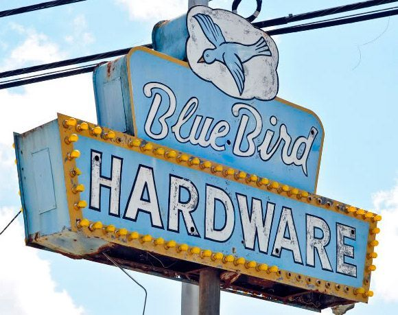 The former Blue Bird Hardware & Seed building, recently began renovations for commercial space and a potential coffee shop
