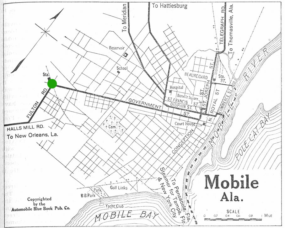 c. 1919 Map of Mobile showing the Loop (green)